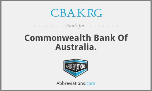 CBAKRG - Commonwealth Bank Of Australia.