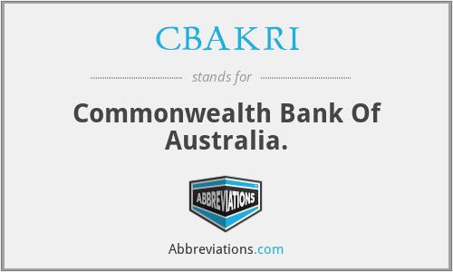 CBAKRI - Commonwealth Bank Of Australia.