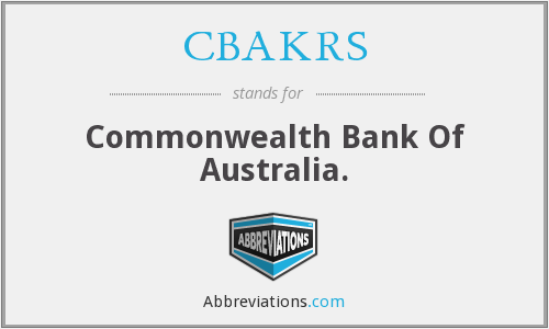 CBAKRS - Commonwealth Bank Of Australia.