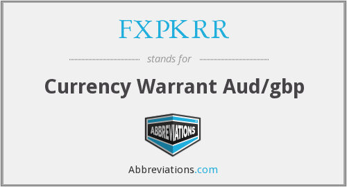 What does FXPKRR stand for?