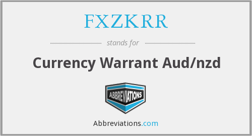 FXZKRR - Currency Warrant Aud/nzd