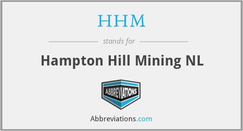 HHM - Hampton Hill Mining NL
