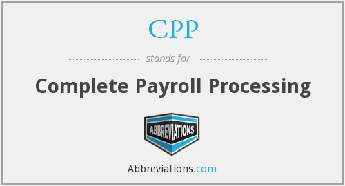 CPP - Complete Payroll Processing