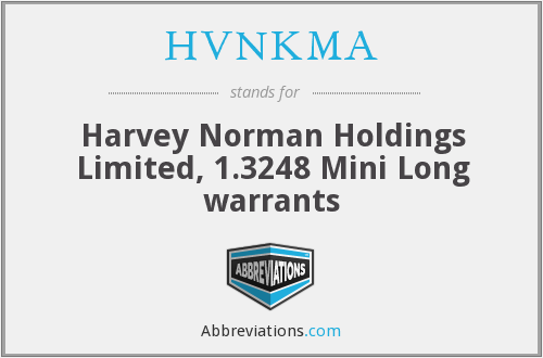 HVNKMA - Harvey Norman Holdings Limited, 1.3248 Mini Long warrants