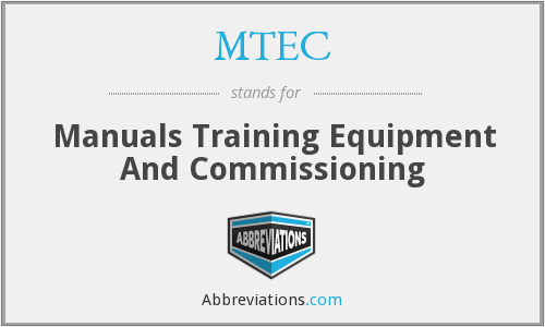 MTEC - Manuals Training Equipment And Commissioning