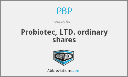 PBP - Probiotec, LTD. ordinary shares