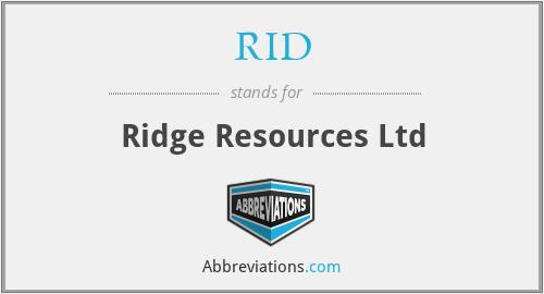 RID - Ridge Resources Ltd