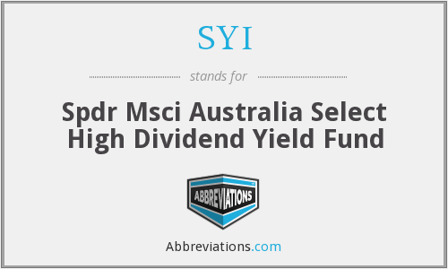 SYI - Spdr Msci Australia Select High Dividend Yield Fund
