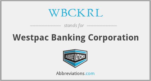 WBCKRL - Westpac Banking Corporation