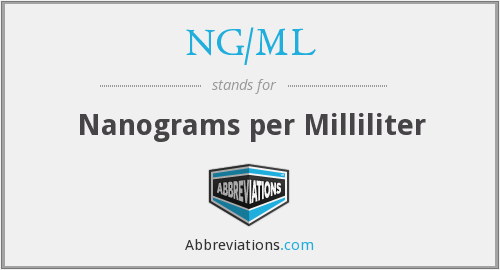 What does NG/ML stand for?