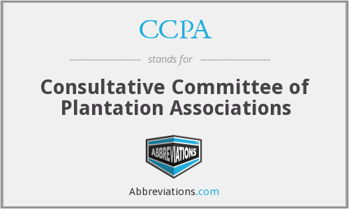 CCPA - Consultative Committee of Plantation Associations