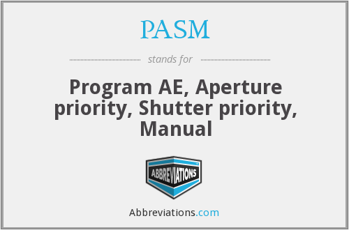 PASM - Program AE, Aperture priority, Shutter priority, Manual