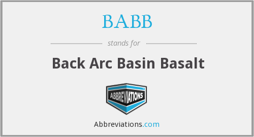 BABB - Back Arc Basin Basalt