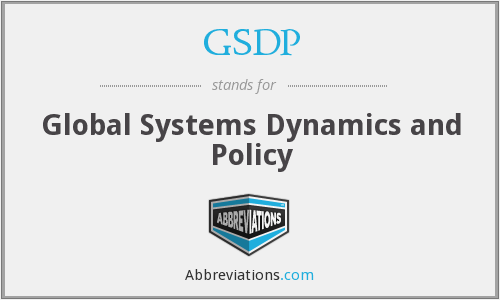 GSDP - Global Systems Dynamics and Policy
