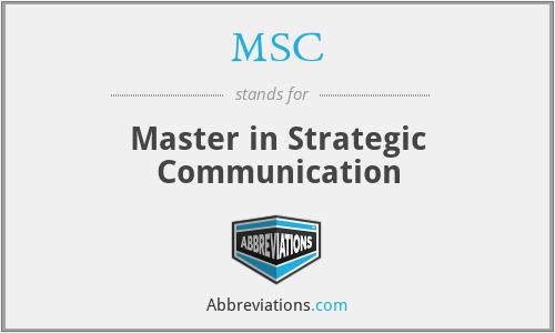 MSC - Master in Strategic Communication