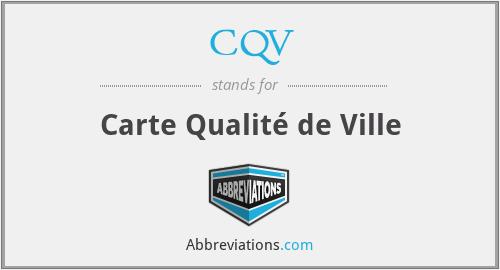 CQV - Carte Qualité de Ville