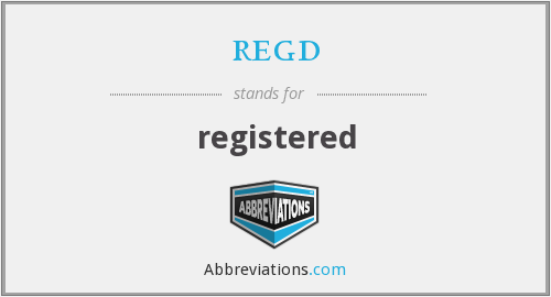 What does REGD stand for?