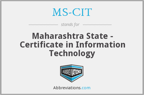 MS-CIT - Maharashtra State - Certificate in Information Technology