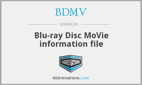 What does BDMV stand for?
