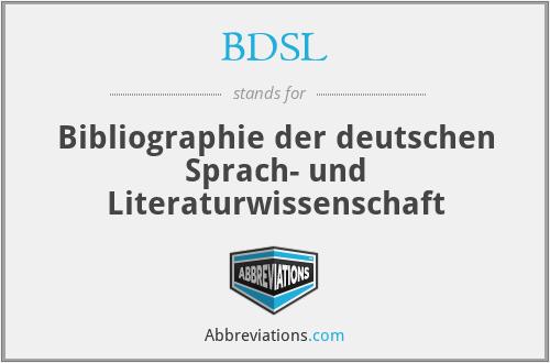BDSL - Bibliographie der deutschen Sprach- und Literaturwissenschaft