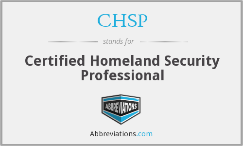 CHSP - Certified Homeland Security Professional