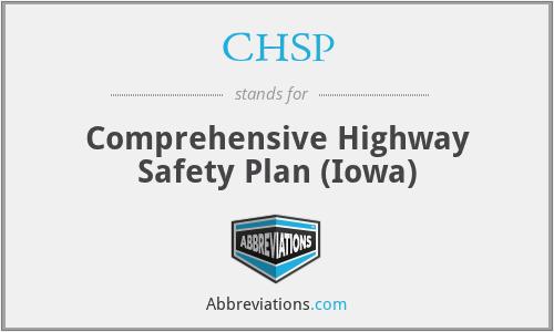 CHSP - Comprehensive Highway Safety Plan (Iowa)