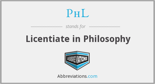 PhL - Licentiate in Philosophy