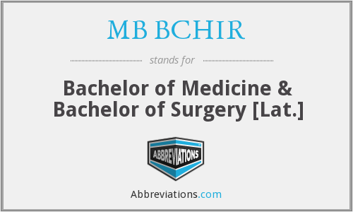 What does MB BCHIR stand for?