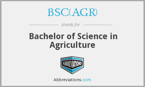 What does BSC(AGR) stand for?