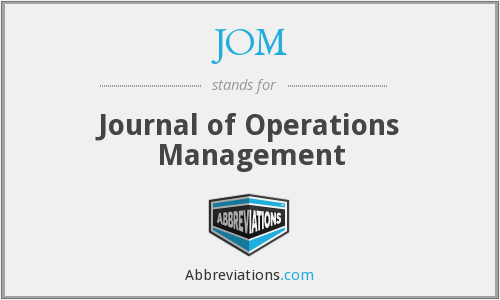 JOM - Journal of Operations Management