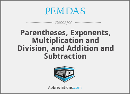 PEMDAS - Parentheses, Exponents, Multiplication and Division, and Addition and Subtraction