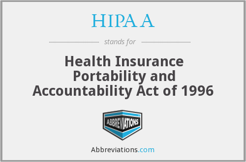 HIPAA - Health Insurance Portability and Accountability Act of 1996