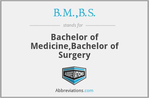 B.M.,B.S. - Bachelor of Medicine,Bachelor of Surgery