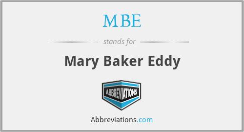 MBE - Mary Baker Eddy