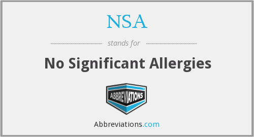 NSA - No Significant Allergies