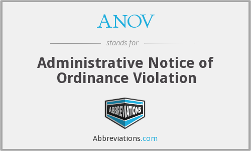 ANOV - Administrative Notice of Ordinance Violation
