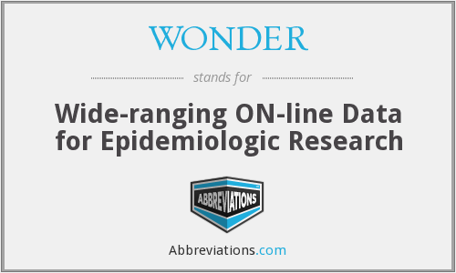 WONDER - Wide-ranging ON-line Data for Epidemiologic Research