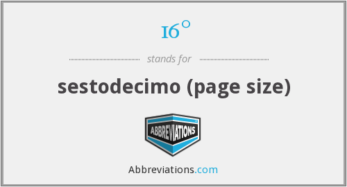 16° - sestodecimo (page size)
