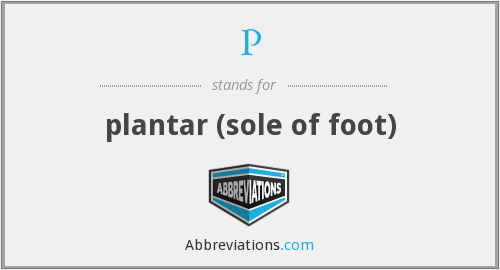 P - plantar (sole of foot)