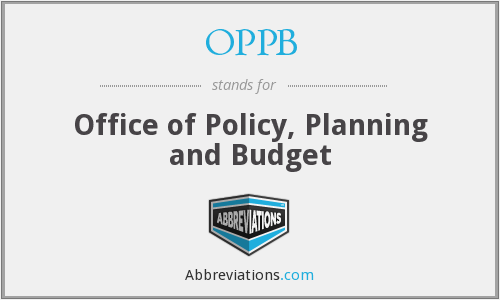 OPPB - Office of Policy, Planning and Budget