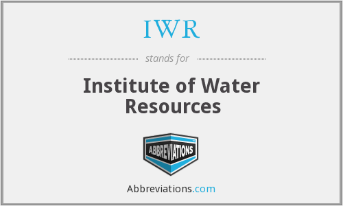 IWR - Institute of Water Resources