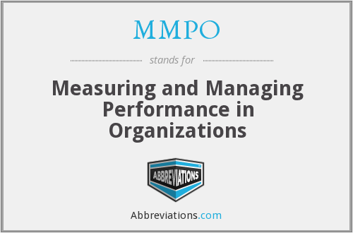 MMPO - Measuring and Managing Performance in Organizations
