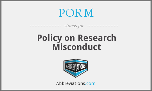 PORM - Policy on Research Misconduct
