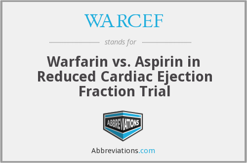 WARCEF - Warfarin vs. Aspirin in Reduced Cardiac Ejection Fraction Trial
