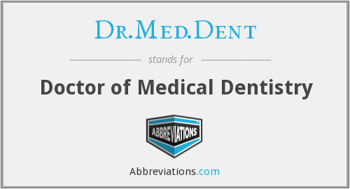 Dr.Med.Dent - Doctor of Medical Dentistry