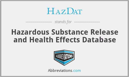 HazDat - Hazardous Substance Release and Health Effects Database