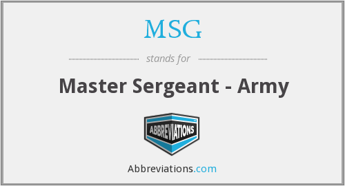 MSG - Master Sergeant - Army