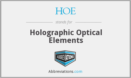 HOE - Holographic Optical Elements