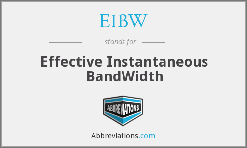EIBW - Effective Instantaneous BandWidth