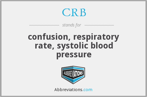 CRB - confusion, respiratory rate, systolic blood pressure